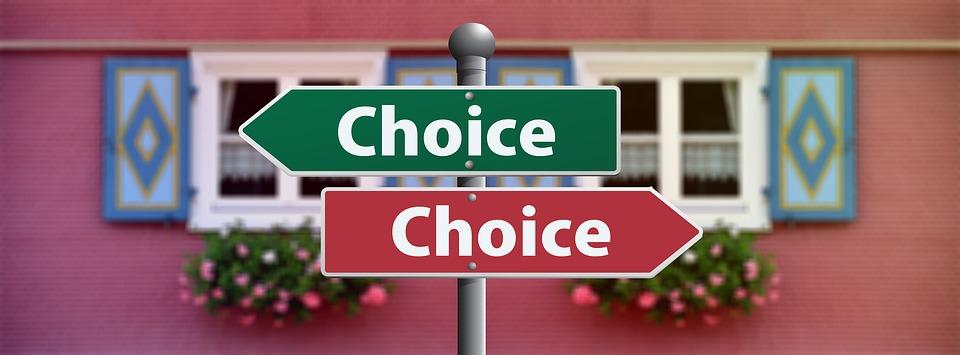 cedule s nápisem choice