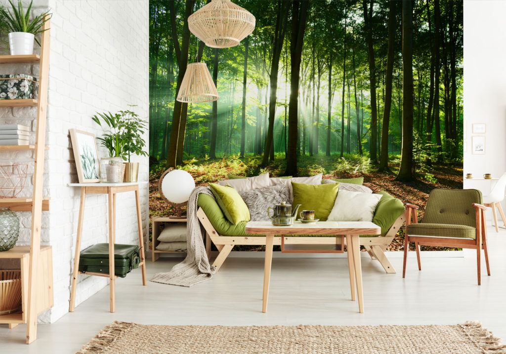 Fotografická tapeta s lesem v obývacím pokoji