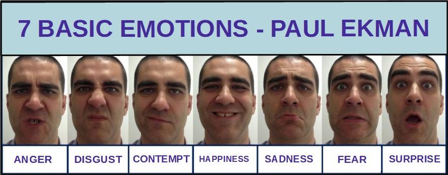 7 základních lidských emocí podle Paula Ekmana.