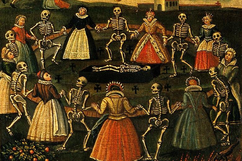 Danse Macabre ukazuje Smrtku vedoucí různé společné vrstvy do hrobu.